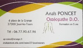 Anaïs PONCET OSTEOPATHE D.O. Joué lès Tours